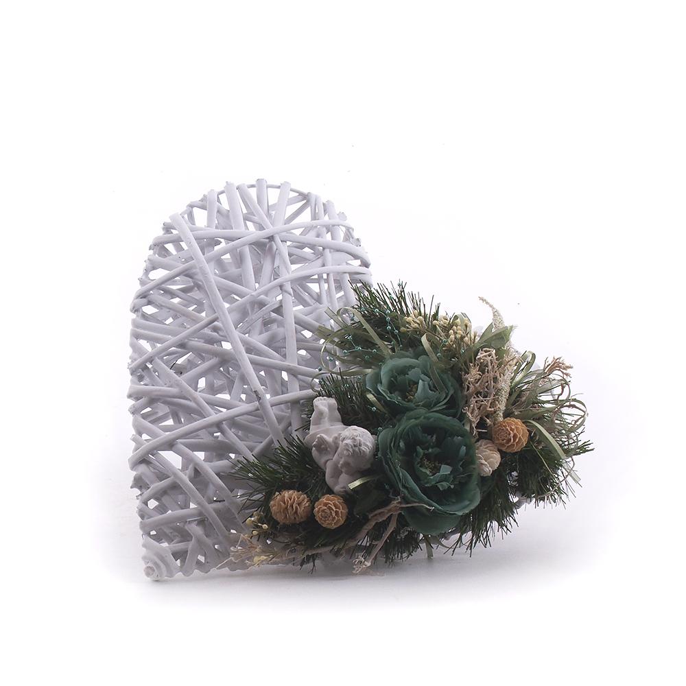 0bcd2a13d Irigo prútené biele srdce zelené kvety anjel | KVETY.sk
