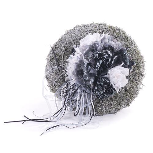 f875adcb7 Irigo machový veniec guľa čierne a biele kvety