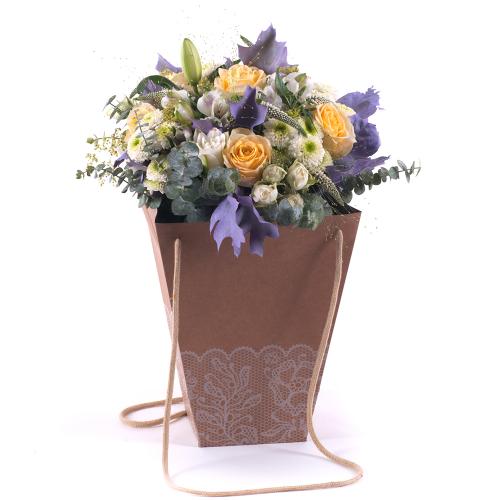 Flower bag žlté ruže a biele santíny
