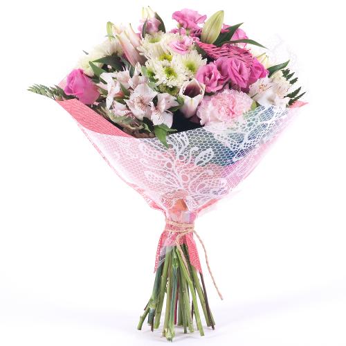 Sweet ružové ruže a karafiáty
