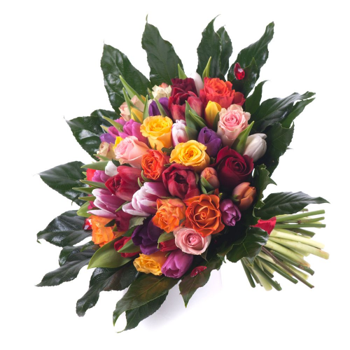 Perla farebné ruže a tulipány