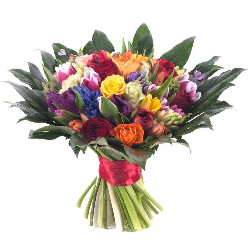 Perla farebné ruže, tulipány a hyacinty