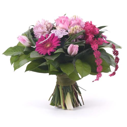 Elite ružové tulipány, ruže, hyacinty