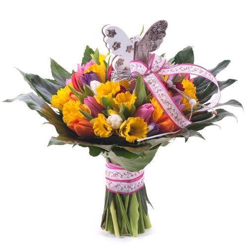 Perla farebné tulipány a narcisy Jar