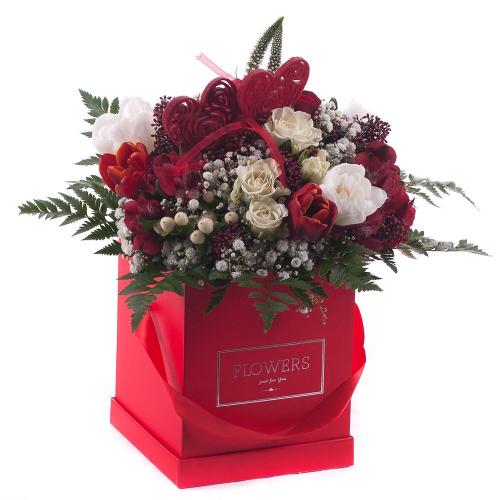 Kytica červený  flower box červené a biele kvety