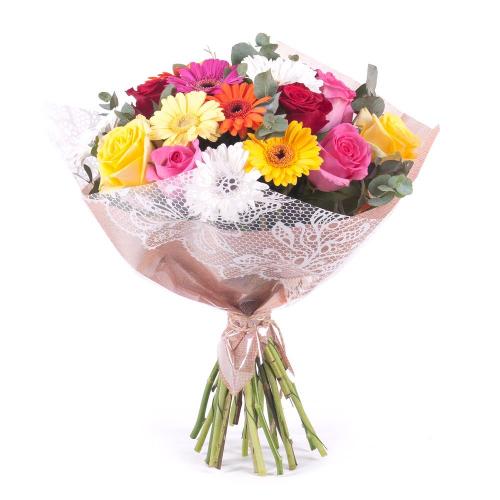 Sweet farebné ruže a gerbery