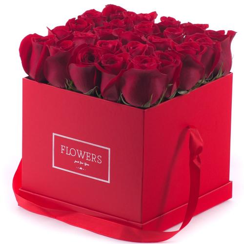 """Flower box červená kocka """"L"""" červené ruže"""