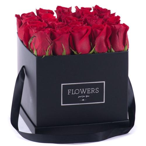 """Flower box čierna kocka """"L"""" červené ruže"""
