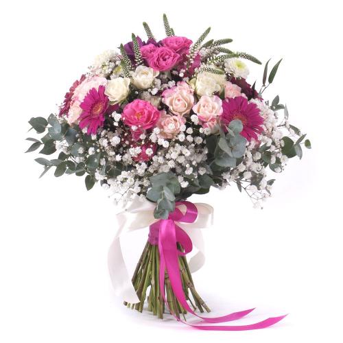 Sweet ružové ruže a gerbery s gypsomilkou