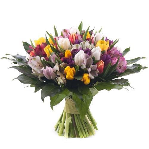 Perla farebné  tulipány a alstromérie