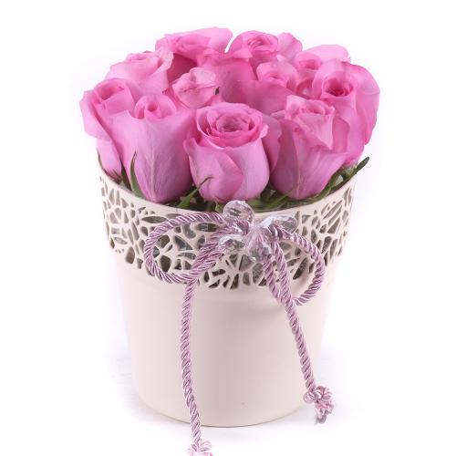 Flower pot ružové ruže