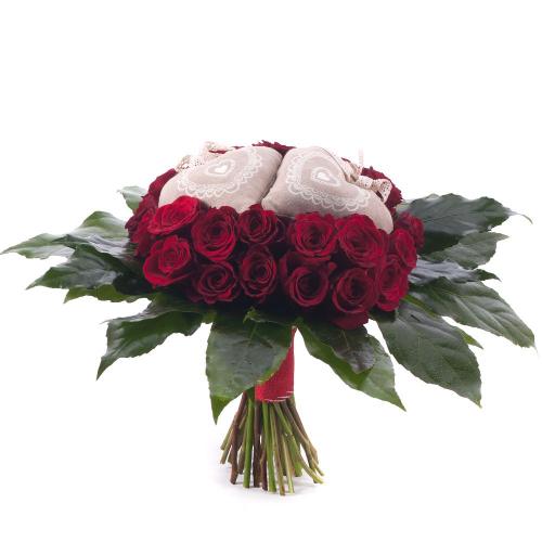 Perla červené ruže srdiečka