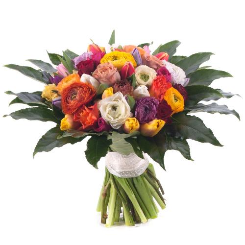 Perla farebné ruže,tulipány a ranunculusy