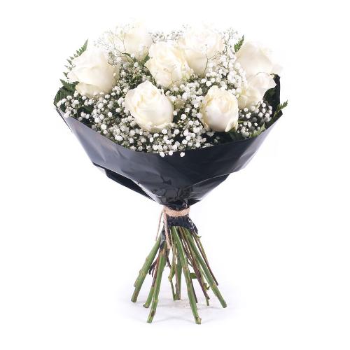 Smútočná kytica krémové ruže