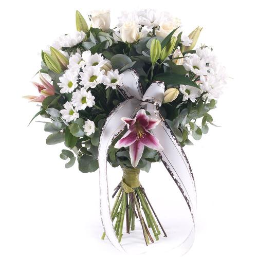 Smútočná kytica biele chryzantémy