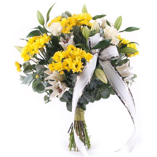 Smútočná kytica žlté chryzantémy