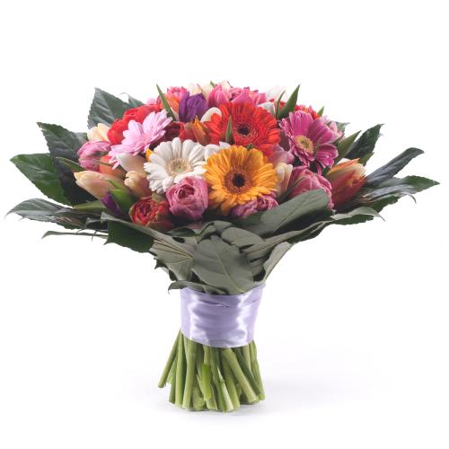 Perla farebné tulipány a gerbery
