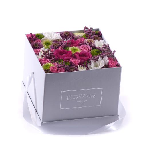 """Flower box biela kocka """"M"""" farebné kvety"""