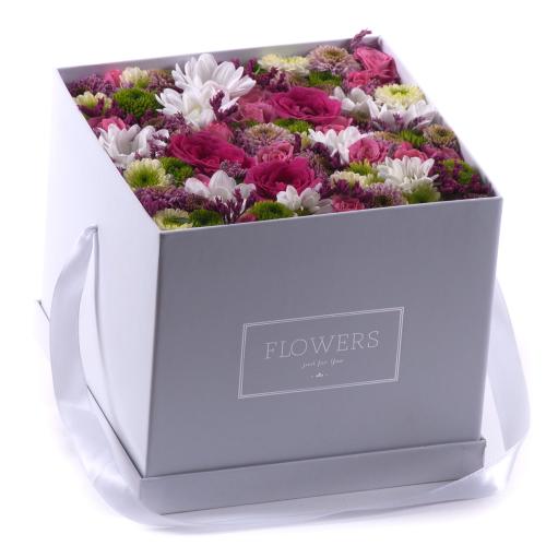 """Flower box biela kocka """"L"""" farebné kvety"""