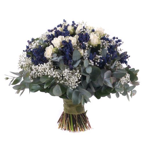 Elite levanduľa a  biele ruže s gypsomilkou
