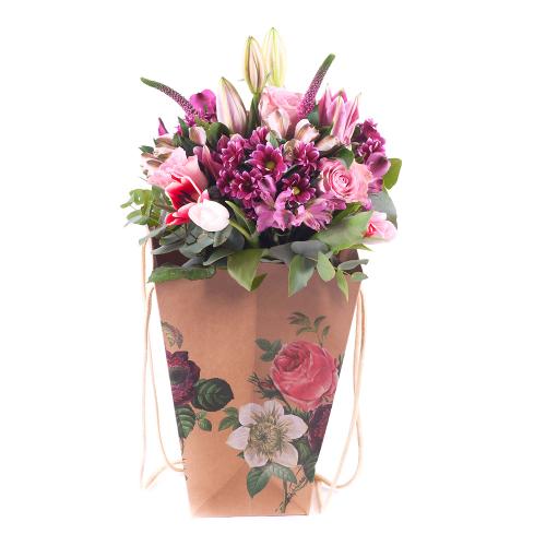 Flower bag ružové kvety