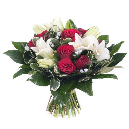 Elite červené ruže a biele ľalie