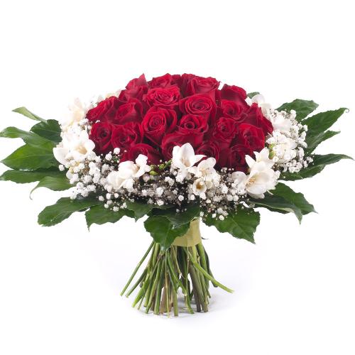 Elite červené ruže a frézie