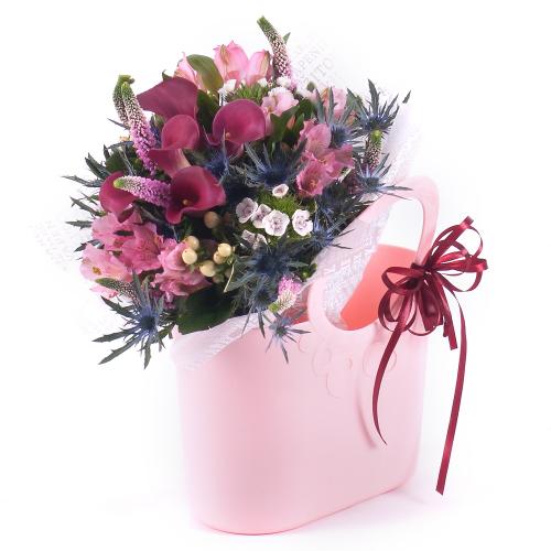 Flower bag kaly, ružové a modré kvety