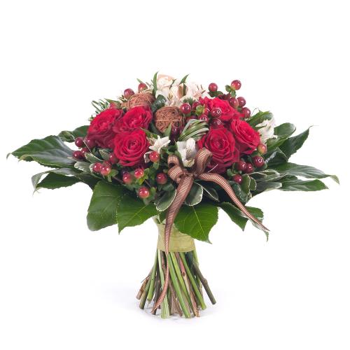 Kytica pre pána červené ruže a hypericum