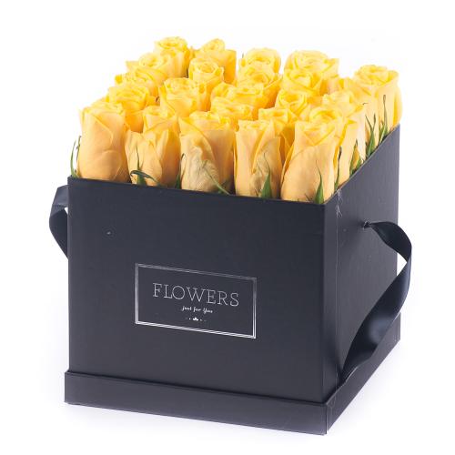 """Flower box čierna kocka """"L"""" žlté ruže"""