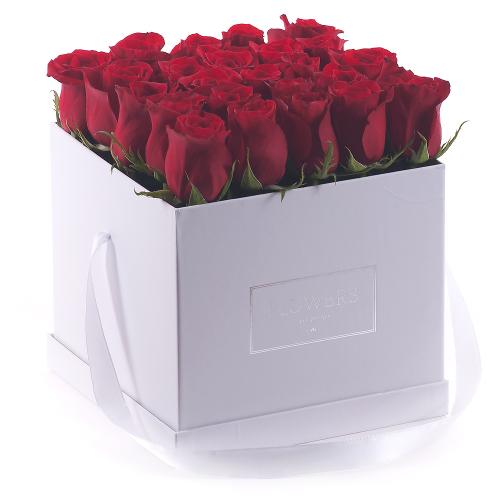 """Flower box biela kocka """"L"""" červené ruže"""