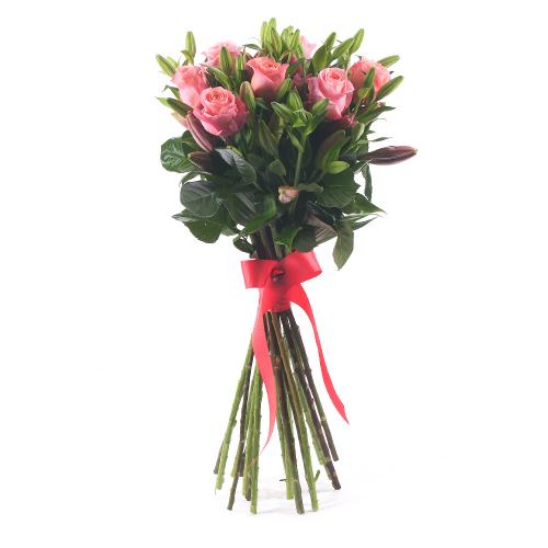 Amore ružové ruže a ľalie