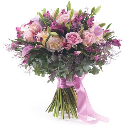 Sweet ružové kaly, ruže a pivónie