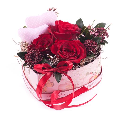 """Flower box vintage srdce """"M"""" červené ruže"""