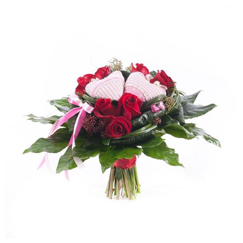Elite červené ruže dve srdiečka