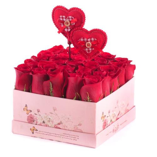 """Flower box vintage kocka """"L"""" červené ruže"""
