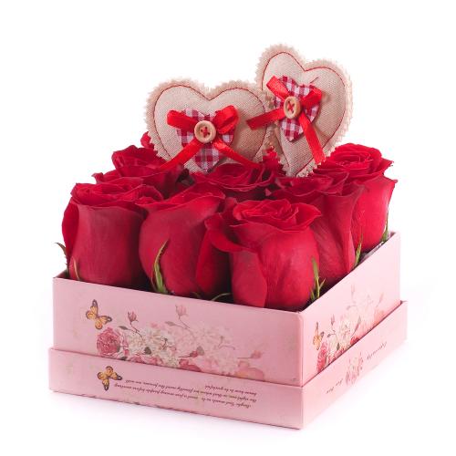 """Flower box vintage kocka """"S""""  červené ruže"""