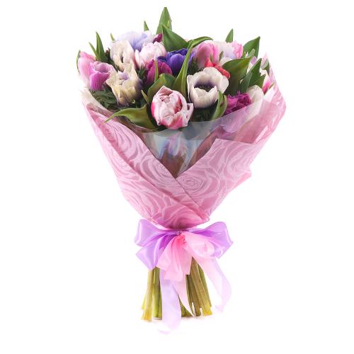 Sweet farebné anemone a tulipány