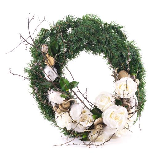 b213cd675 Irigo čačinový veniec biele ruže Veľká noc