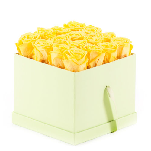 "In eterno zelený flower box kocka ""M"" žlté ruže"