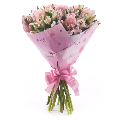 Sweet ružové ruže a alstromérie